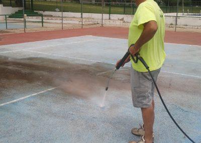 Limpieza a chorro del hormigón poroso